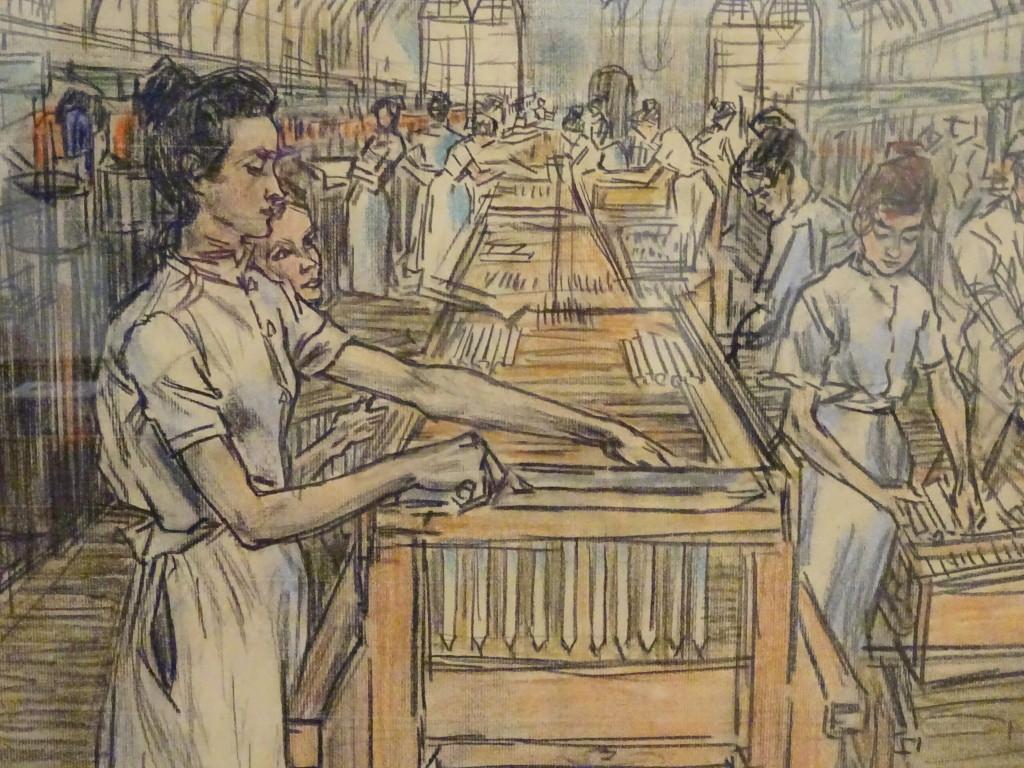 Jan Toorop, uit de serie De Arbeid in de kaarsenfabriek, 1905, detail, pastel en conté op papier, verworven in 1940