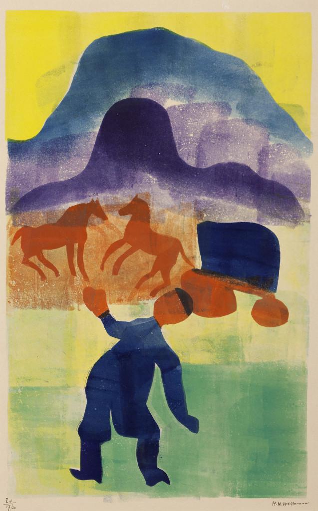 H.N. Werkman, Chassidische Legenden I: De gedwongen terugkeer, 1942. Sjabloon en rol op papier. Foto: Marten de Leeuw. Collectie Groninger Museum