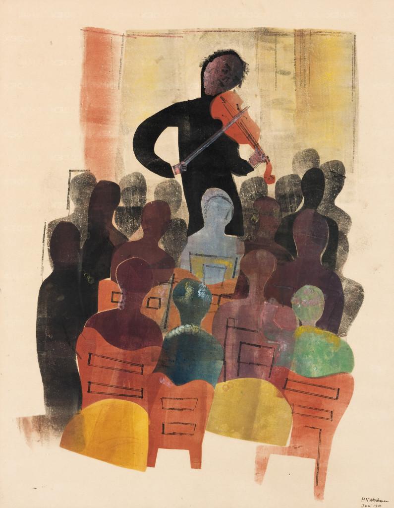 H.N. Werkman, Violist en publiek, 1942, sjabloon en stempel op papier. Copyright Groninger Museum, bruikleen Stichting J.B. Scholtenfonds. Foto: Marten de Leeuw