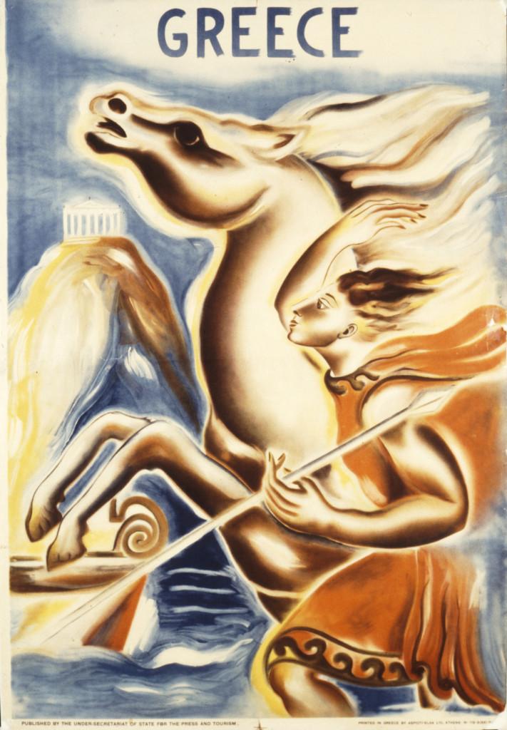 Poster Acropolis en Apollo, S. Polychroniadi, 1938, gepubliceerd door het ministerie van toerisme