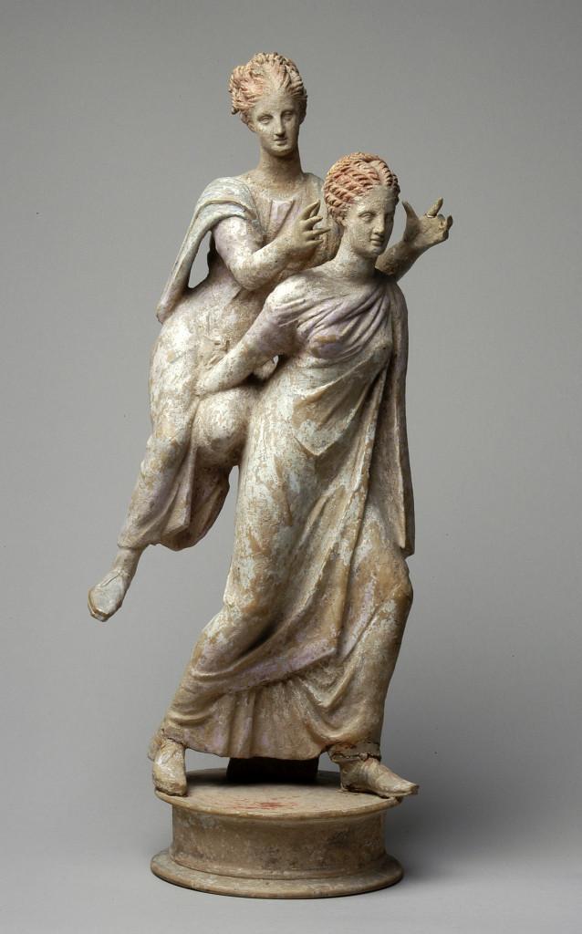 Zogenaamde Ephedrismosgroep, twee meisjes, waarvan een op de rug van het andere meisje zit. Griekenland, 300-250 v. Chr.