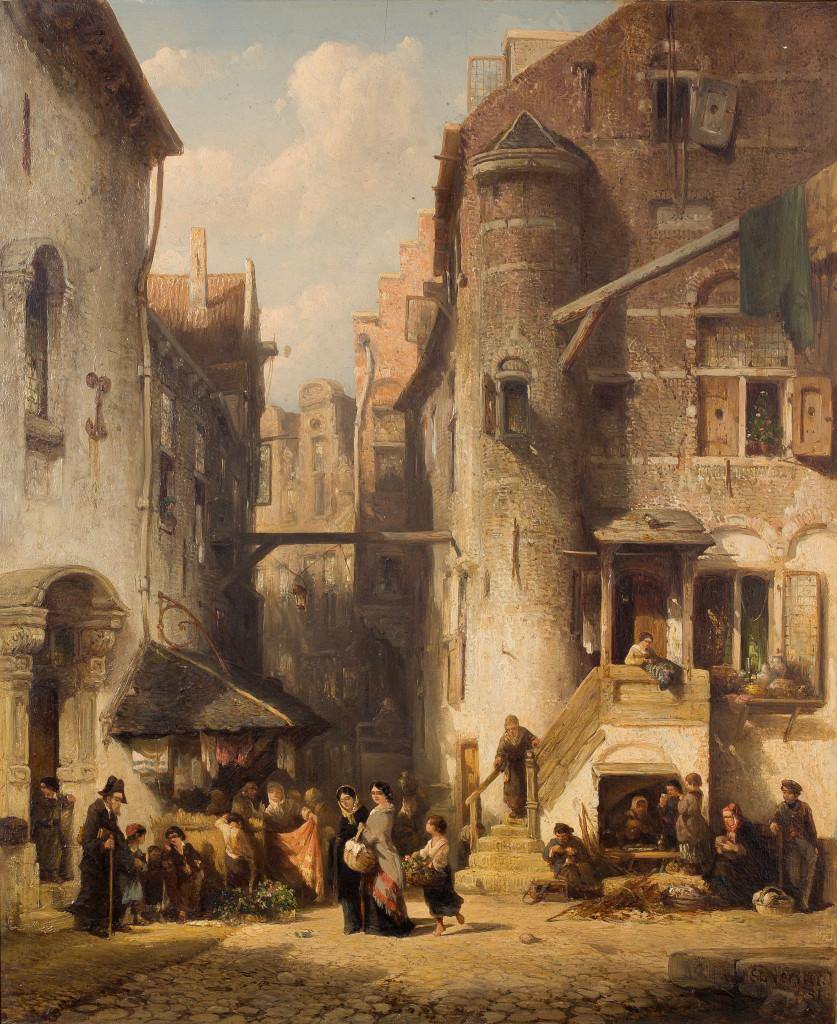 Salomon Verveer, Een straat in de Amsterdamse jodenbuurt, 1851, Stichting Twickel, Delden
