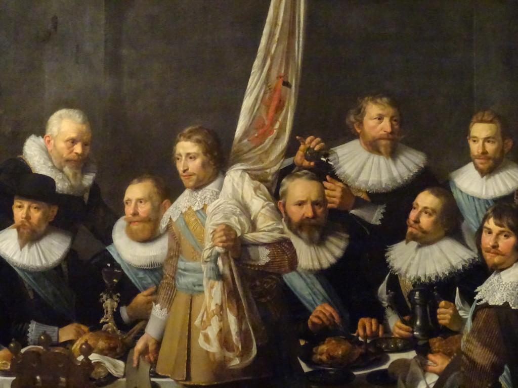 Maaltijd van schutters van Wijk IX onder kapitein Jacob Backer en luitenant Jacob Rogh, 1632, Nicolaes Eliasz Pickenoy (1588-1650/56), detail, eigen foto
