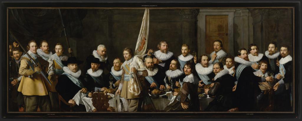 Maaltijd van schutters van wijk IX onder kapitein Jacob Backer en luitenant Jacob Rogh, 1632, Nicolaes Eliasz Pickenoy (1588-1650/56), foto Amsterdam Museum
