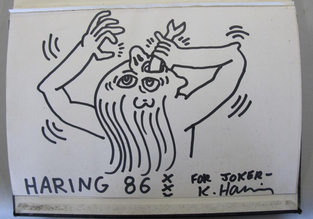 Blackbook Joker, bladijde met tekening van Keith Harin, 1986, inkt op papier c Keith Haring Foundation