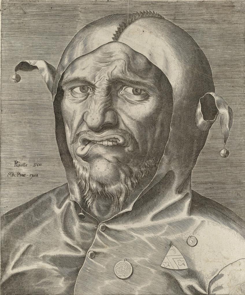 Pillips Galle, Portret van een nar, ca. 1570, collectie Noordhollands Archief, Haarlem