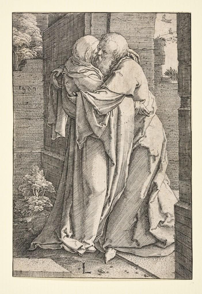 Lucas van Leyden, De ontmoeting van Joachim en Anna bij de Gouden Poort, gravure, staat I (1), 1520, foto Museum Het Rembrandthuis