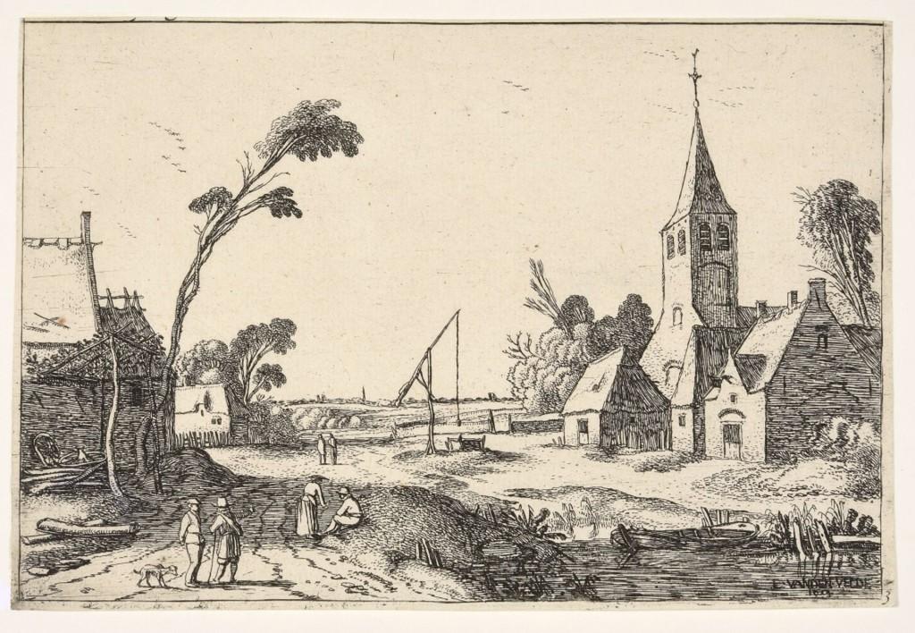 Esaias van de Velde, Dorpsgezicht met boerderijen, kerk en waterput, ets, staat II (2), 1614, foto Museum Het Rembrandthuis