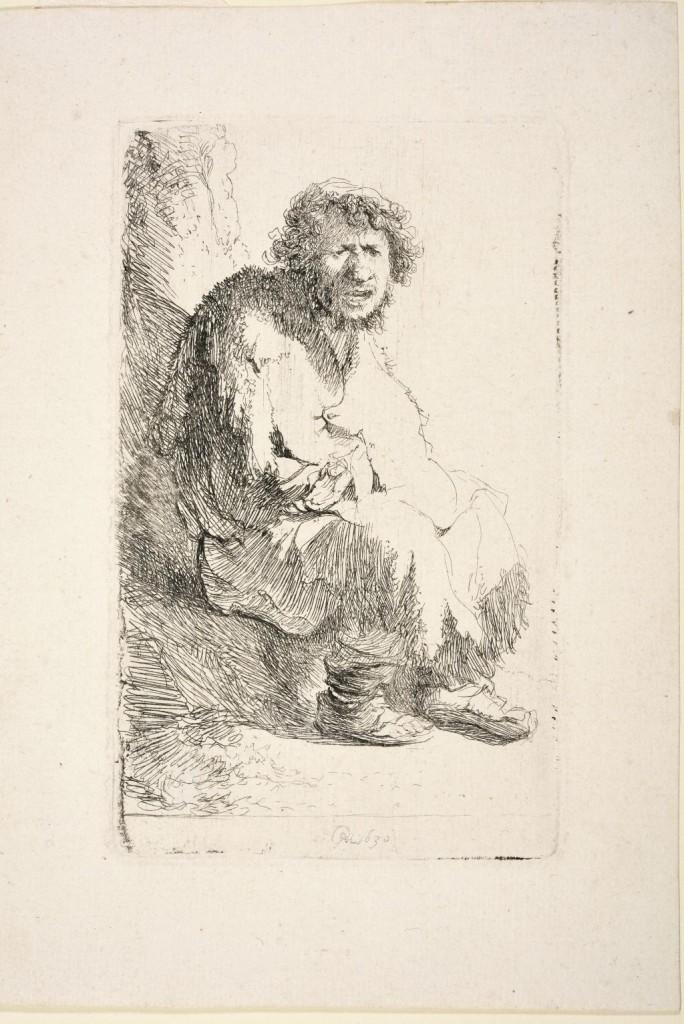 Rembrandt, Bedelaar, zittend op een heuveltje, gesigneerd en gedateerd, middenonder: 'RHL 1630', ets staat 1 (2). Foto Museum Het Rembrandthuis