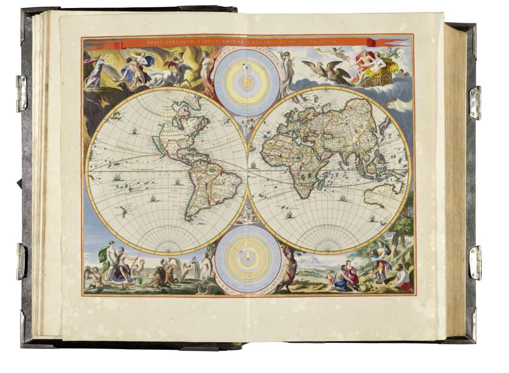 Bastiaen Stoopendaal, wereldkaart, gravure uit ca. 1682, afgezet en met goud gehoogd door Dirk Jansz van Santen
