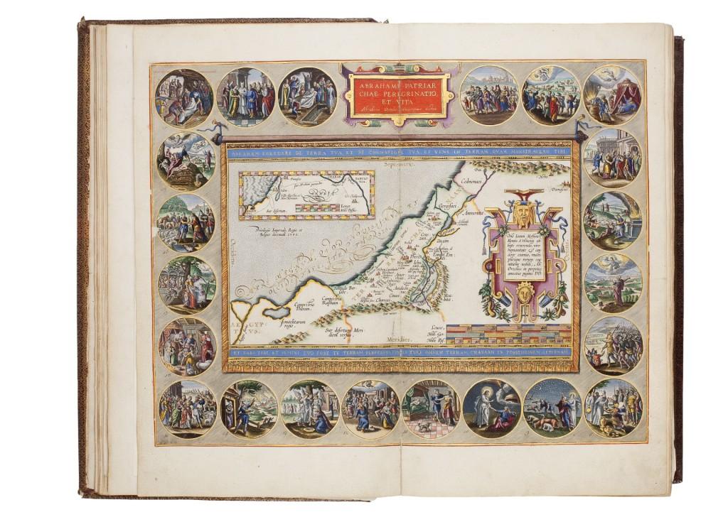 Ortelius (1586), kaart van de omzwervingen van Abraham, toegevoegd aan tenminste vier Keurbijbels, door Van Santen afgezet en met goud gehoogd