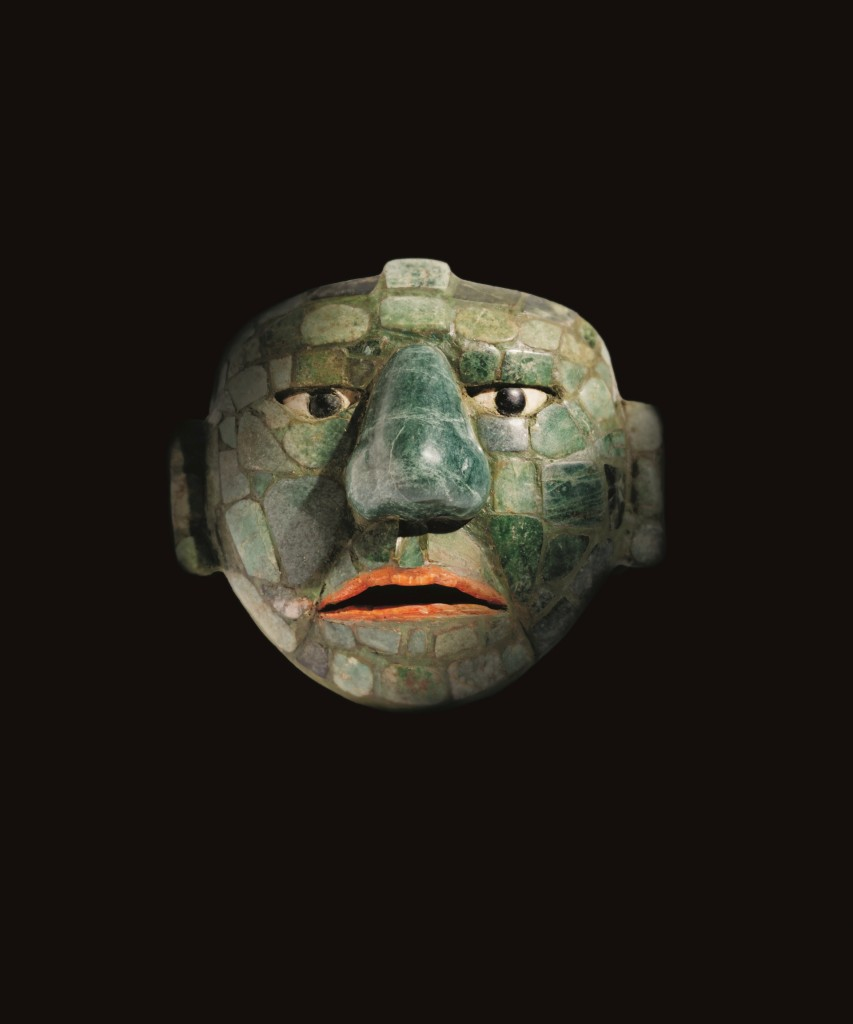 Maya-masker gemaakt van jade, obsidiaan en schelpen, 500 - 800, collectie Fundación La Ruta Maya, Guatemala