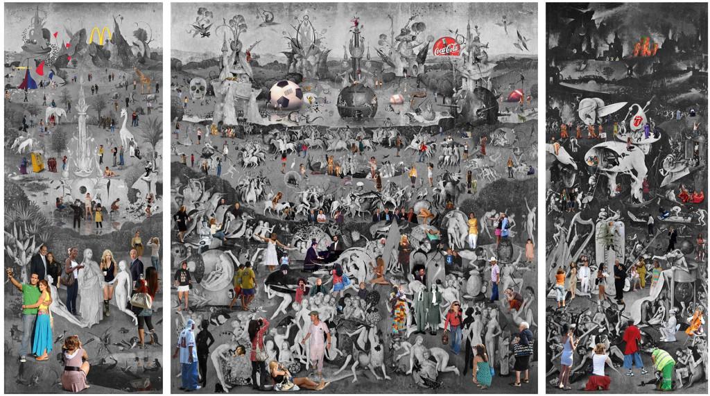 Lluis Brabara, Jardin de las Delicias, fotocollage, 300 x 450 cm. Galería Contrast, foto Realisme-beurs
