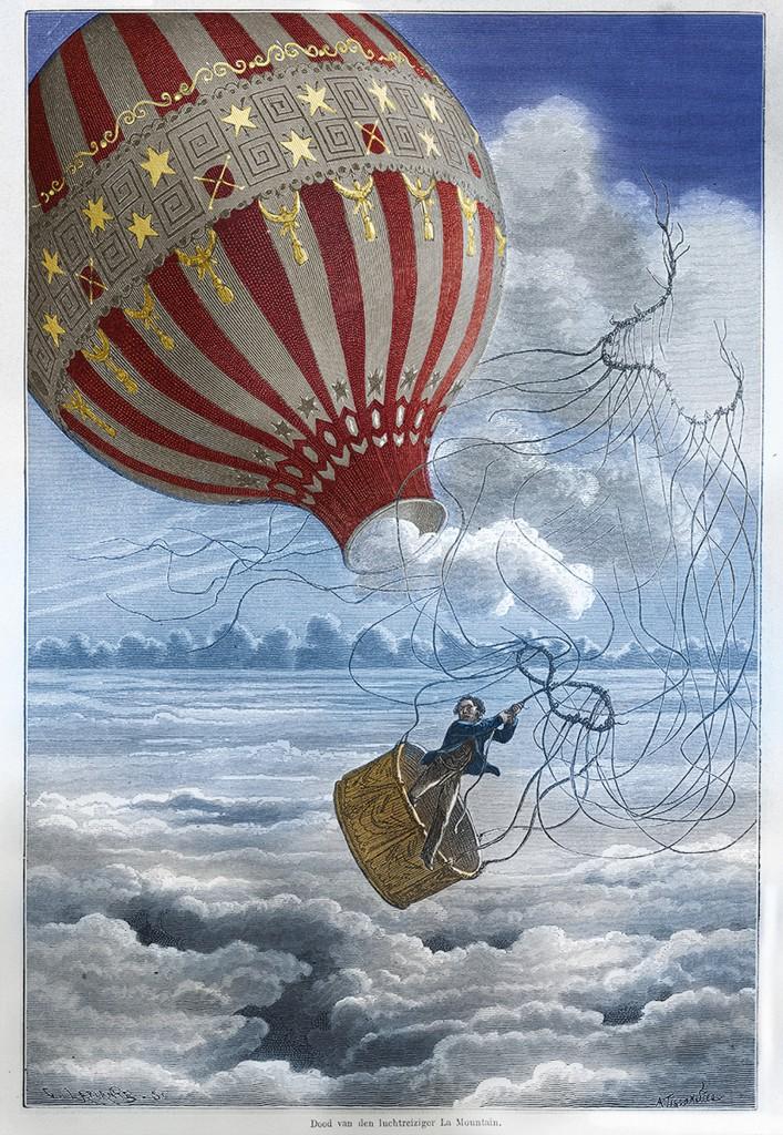 Charles Laplante (1837-1903) naar Albert Tissandier (1839-1906), Dood van de luchtreiziger La Mountain, 1875, lithografie