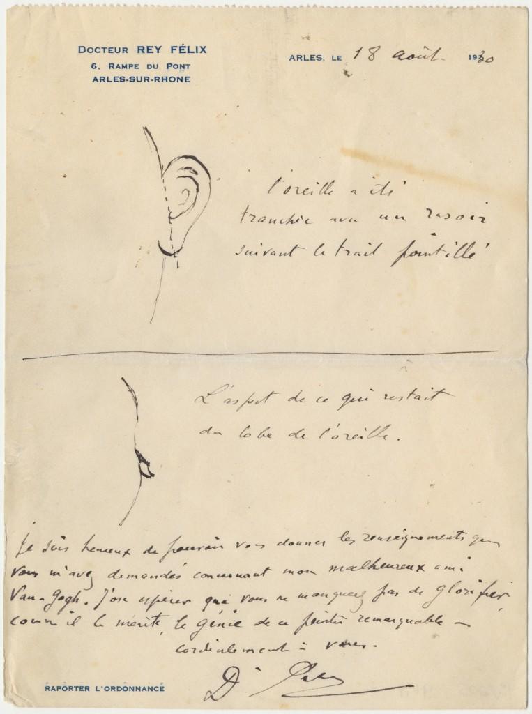 Brief van Félix Rey aan Irving Stone met tekeningen van de verminking van het oor van Vincent van Gogh, 18 augustus 1930. The Bancroft Library, University of California, Berkeley