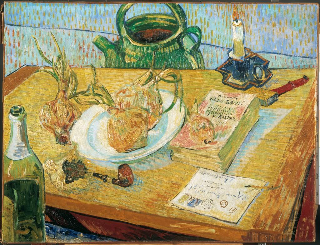 Vincent van Gogh, Stilleven rond een bord met uien, januari 1889, olieverf op doek, Kröller-Müller Museum, Otterlo