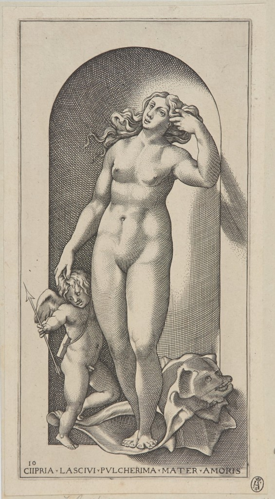 Jakob Binck, Venus, 1530, gravure, BdH 15353 (PK)/Maryan Mehlhorn , foto Boymans Van Beuningen