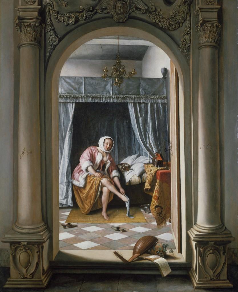Jan Steen (1626-1679), Vrouw in een slaapkamer, 1663, aangekocht door George IV, 1821, The Royal Collection