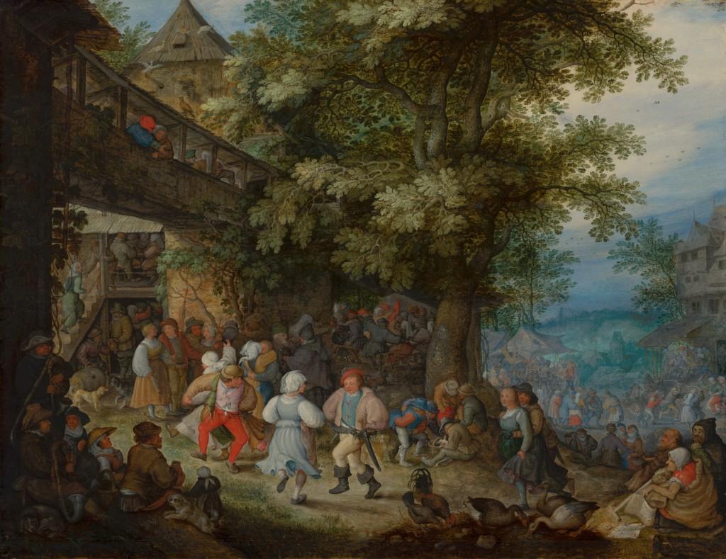 Roelant Savery, Dansende boeren voor een Boheemse herberg, c. 1610, olieverf op paneel, 47 x 61 cm, Mauritshuis, Den Haag, schenking Willem baron van Dedem aan Stichting Vrienden van het Mauritshuis, 2002