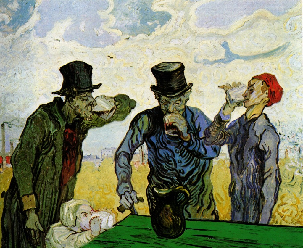 De drinkers, naar Daumier, Vincent van Gogh, 1890, collectie The Art Institute of Chicago