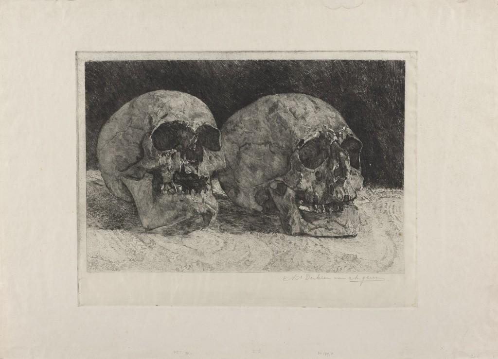 Antoon Derkzen van Angeren, Twee doodshoofden, ca 1906, ets, Den Haag, Gemeentemuseum
