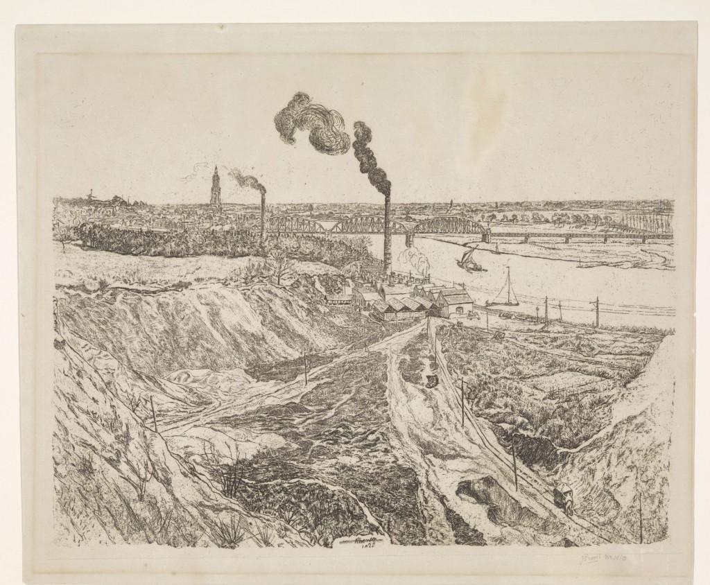 Johannes Proost, Gezicht op Rhenen, 1941, ets, Amsterdam, Rijksmuseum, schenking Departement van Opvoeding, Wetenschap en Cultuurbescherming