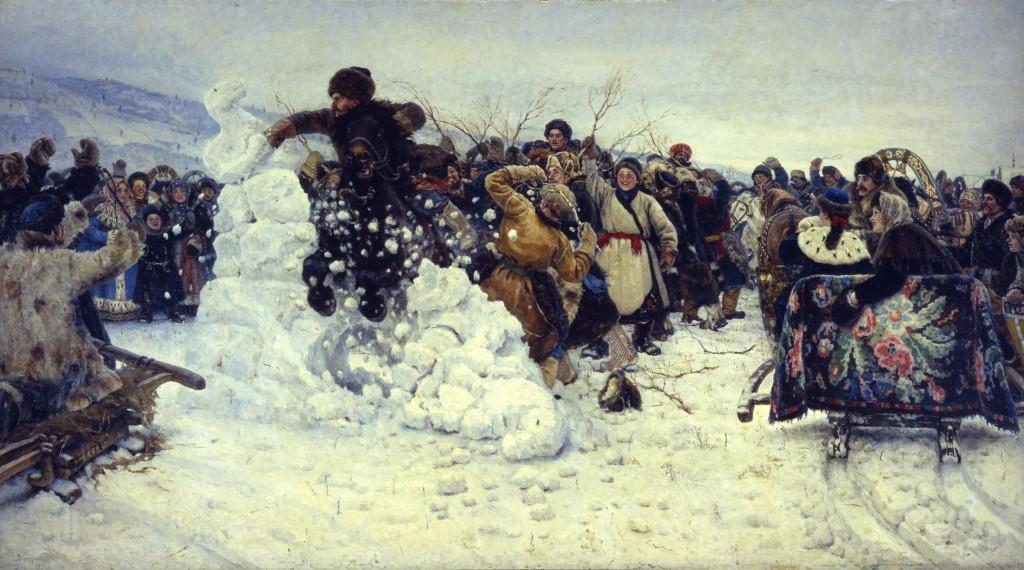 Vasily Surikov (1848_1916), Bestorming van een sneeuwstadje, 1891, olieverf op doek, collectie Staats Russisch Museum, St.Petersburg