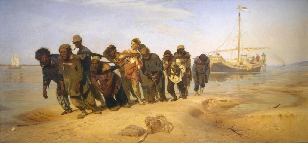 Ilya Repin (1844-1930), Wolgaslepers, 1870-1873,volieverf op doek, collectie Staats Russisch Museum, St. Petersburg