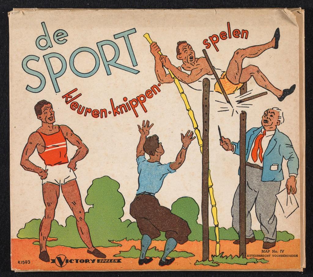 'De sport: kleuren, knippen, spelen' (1948), map met 9 platen om te kleuren en uit te knippen, 2 voorbeeldkaarten in kleur en 1 uitvouwbare achtergrondplaat