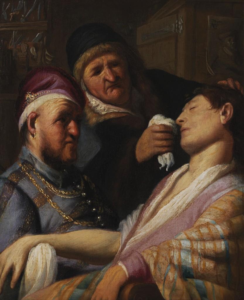 Rembrandt, De flauwgevallen patiënt, ca. 1624, olieverf op paneel, 31,7x 25,4 cm, The Leiden Collection, New York