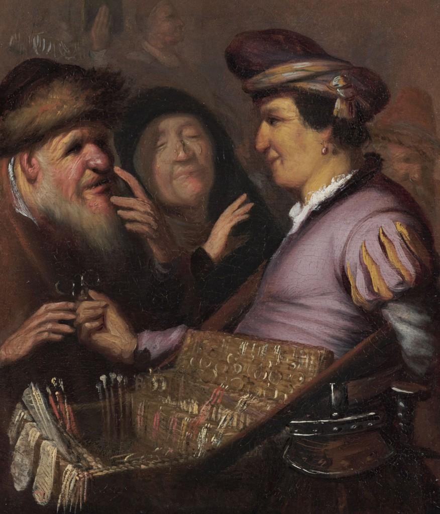 Rembrandt, De brillenverkoper (het zicht), ca. 1624,olieverf op paneel, 21 x 17,8 cm, De Lakenhal, Leiden