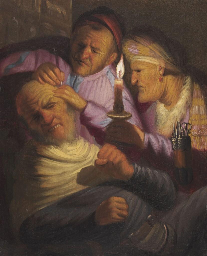 Rembrandt, De operatie (het gevoel), ca. 1624, olieverf op paneel, 21,5 x 17,7 cm, The Leiden Collection, New York