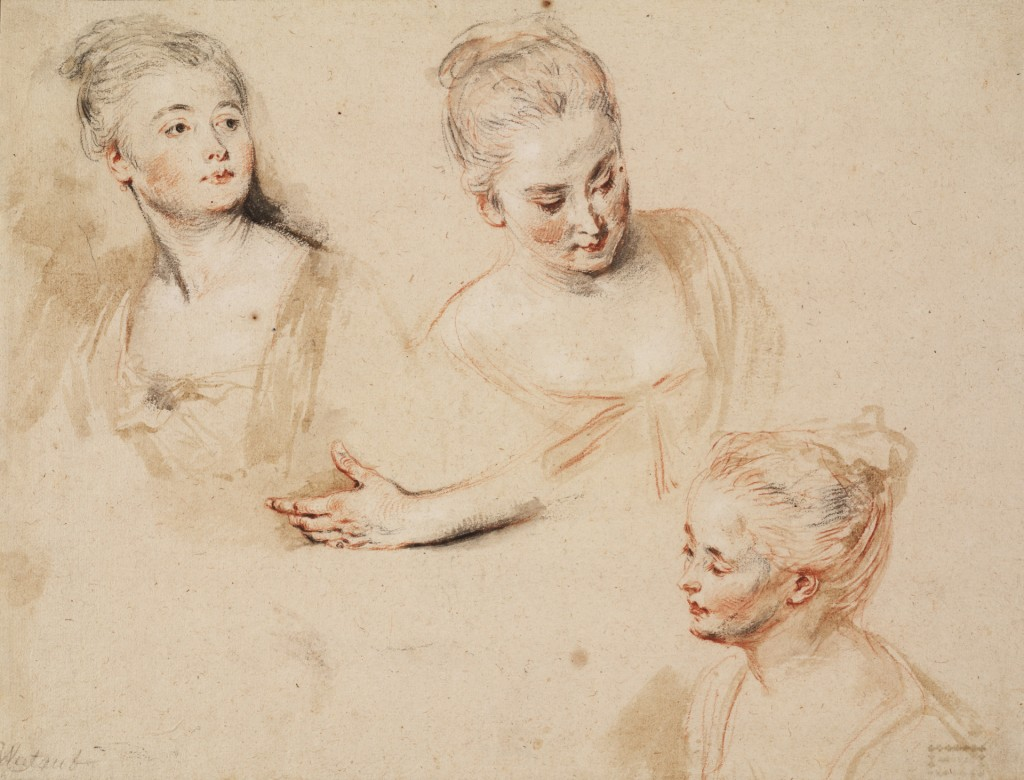Antoine Watteau, Studieblad met drie vrouwenhoofden en een linkerhand, ca. 1718, Rood, zwart en wit krijt in grijze, bruine en rode waterverf, Teylers Museum, Haarlem