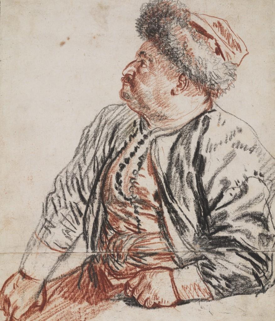 Antoine Watteau, Zittende Pars, 1715, rood en zwart krijt, Teylers Museum, Haarlem