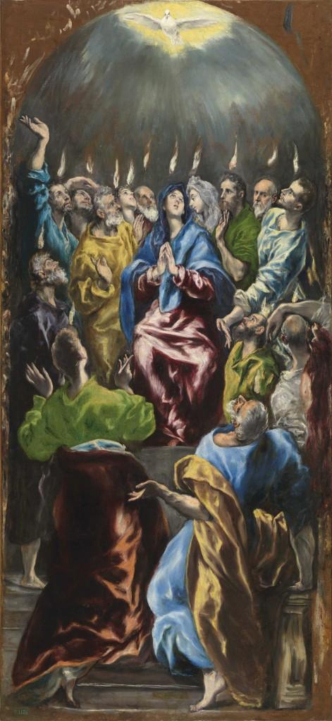 El Greco, Pentecostés (Pinksteren), ca. 1600. olieverf op doek, 275x127 cm c Photographic Archive. Museo Nacional del Prado. Madrid
