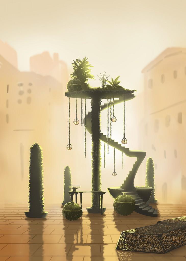 Getekende impressie Tropic City, Jólan van der Wiel. Tekening: Joeri Verweij