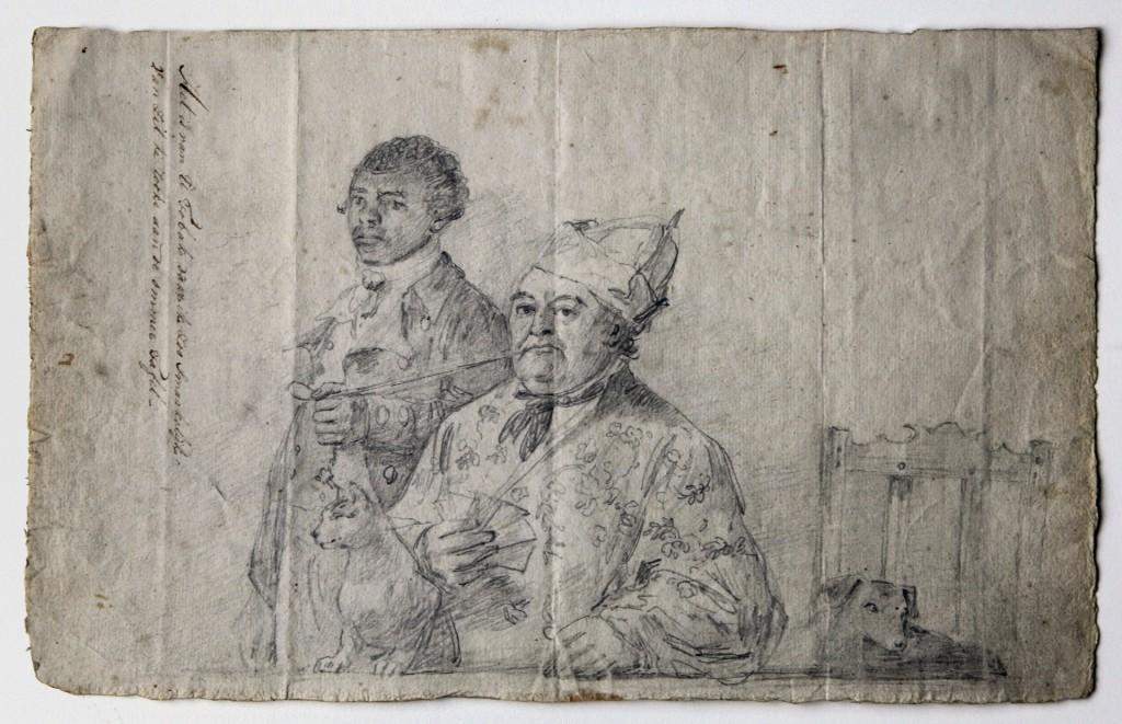 Anoniem, Hendrik Cloete met slaaf die zijn pijp vasthoudt, ca. 1788, Schwellengrebelarchief, St. Maarten