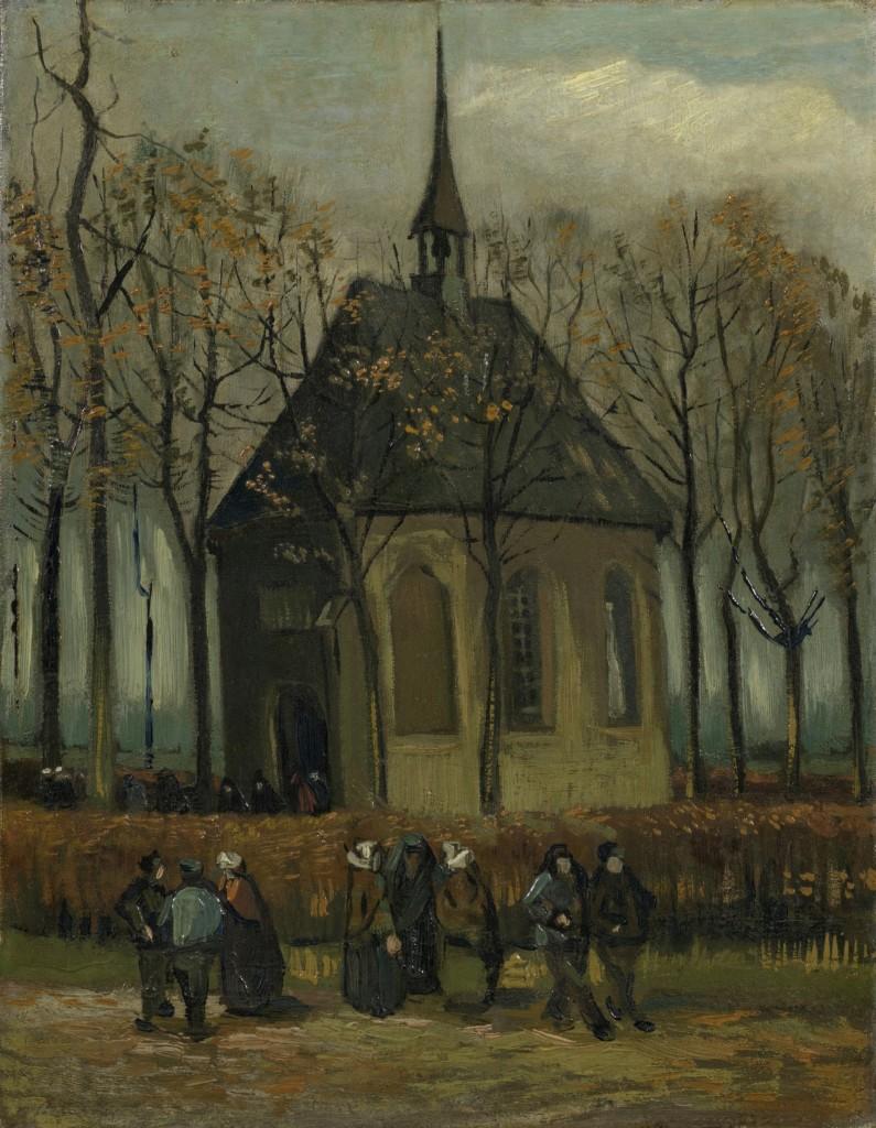 Vincent van Gogh, Het uitgaan van de Hervormde Kerk te Nuenen. 1884/85, foto Van Gogh Museum