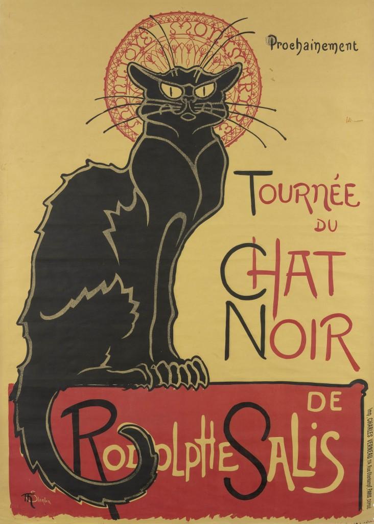 Affiche voor tournee van Le Chat Noir, 1896, Thëophile-Alexandre Steinlen (1859-1923),litho in twee kleuren op bruin velijn papier, 140 x 100 cm, Van Gogh Museum Amsterdam
