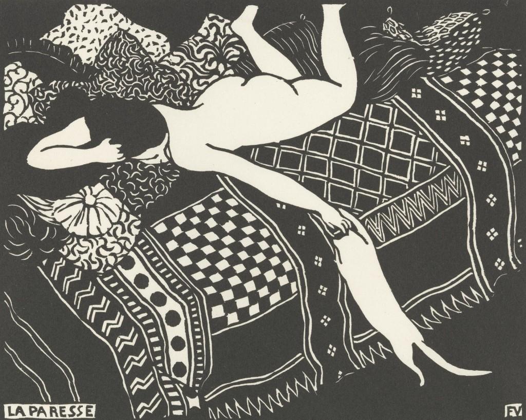 Luiheid (La paresse), Félix Valloton (1896-1925), 1896, houtsnede in zwart op velijn papier, 25 x 33 cm, Van Gogh Museum Amsterdam (aankoop et steun Bankgiro Loterij)