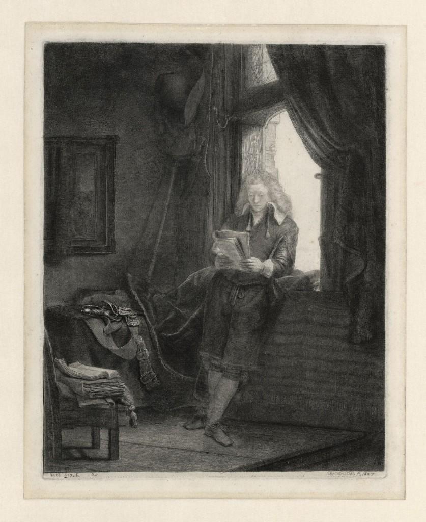 Rembrandt van Rijn, Jan Six, 1647, ets, Museum Het Rembrandthuis