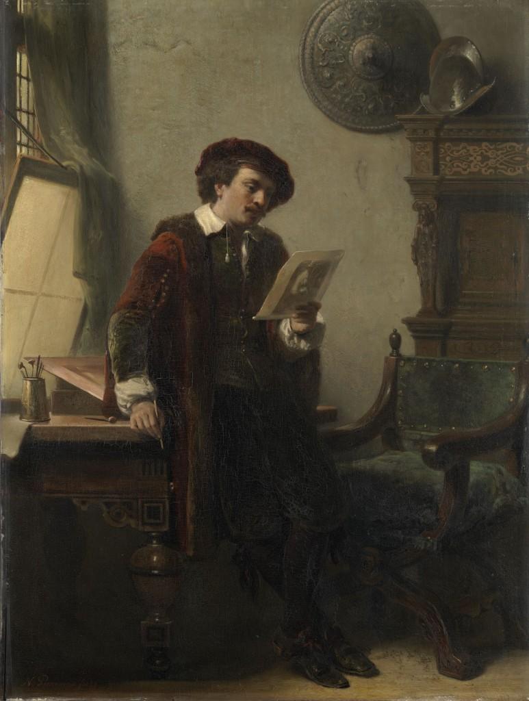 Nicolaas Pieneman, Rembrandt in zijn atelier, 1852, Amsterdam Museum. Rembrandt bekijkt zijn Jan Six-ets