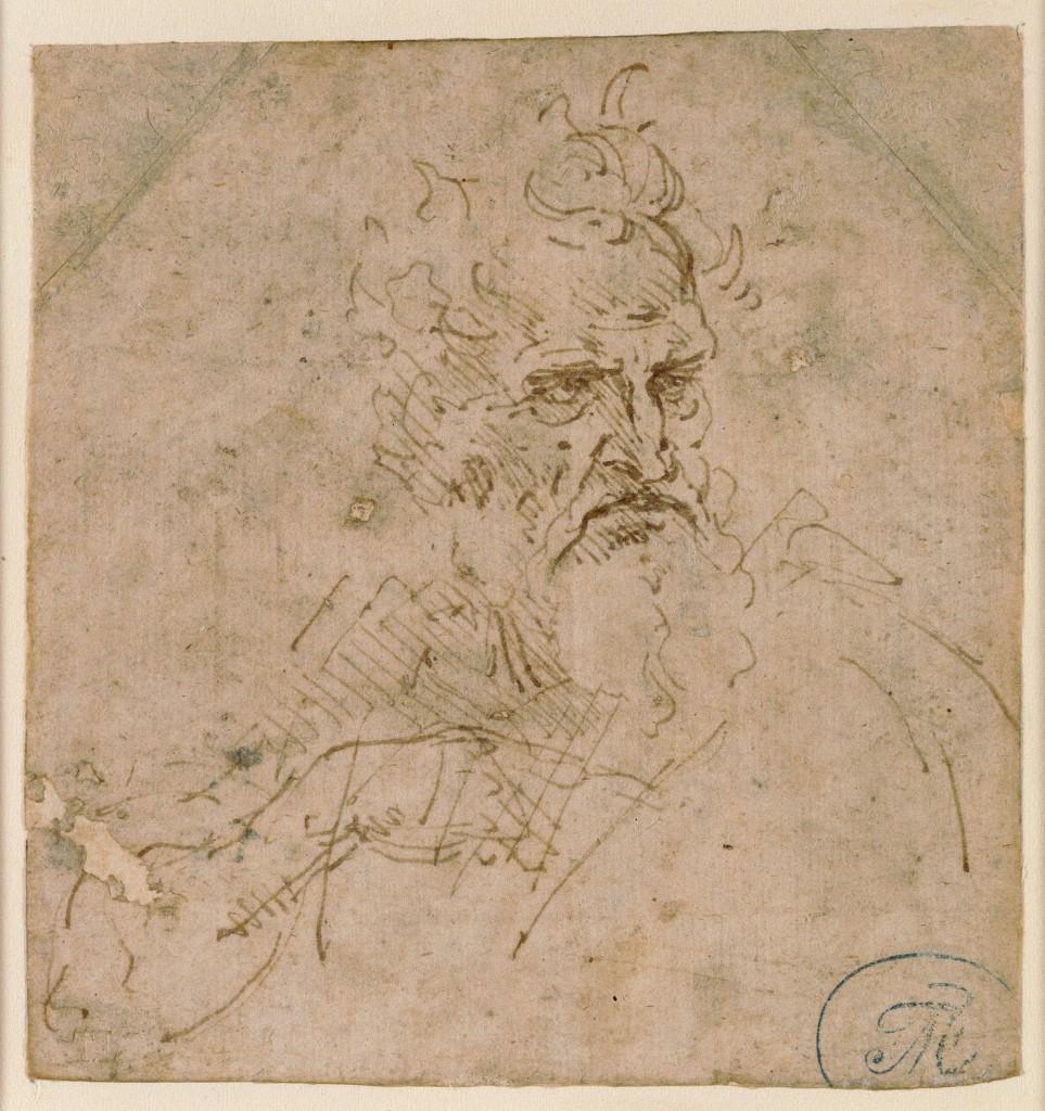 Leonardo da Vinci (1452-1519), Kop van een grijsaard, inkt op papier, 100 x 95 mm, collectie Amsterdam Museum