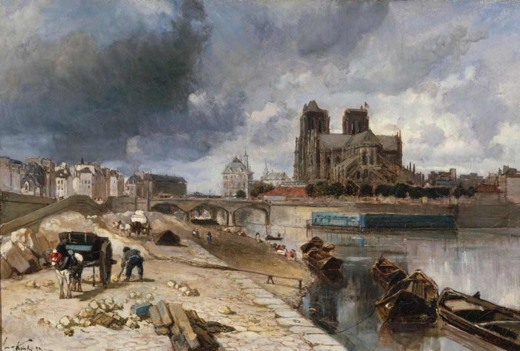 """Johan-Barthold Jongkind (1819-1891). """"Notre-Dame vue du quai de la Tournelle"""". Huile sur toile, 1852. Musée des Beaux-Arts de la Ville de Paris, Petit Palais."""