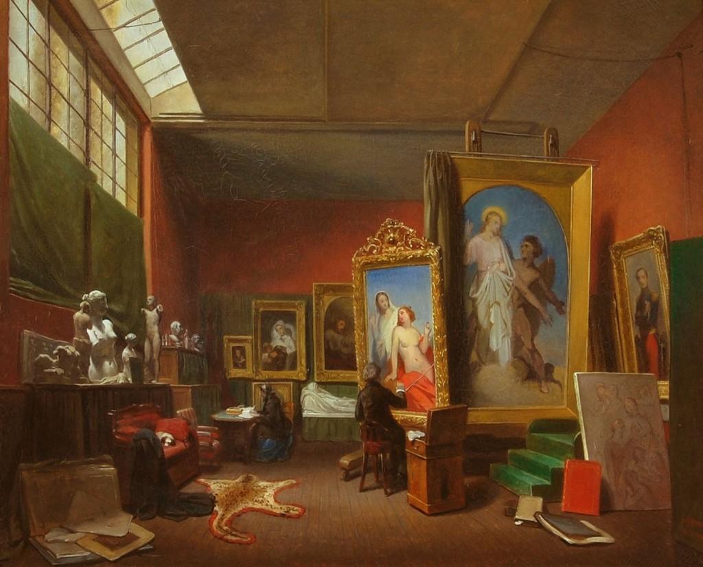 Arie Johannes Lamme, Ary Scheffer aan het werk in het grote atelier aan de rue Chaptal 16, 1851, Dordrechts Museum (schenking van H.O.W. de Kat van Barendrecht, 1866)