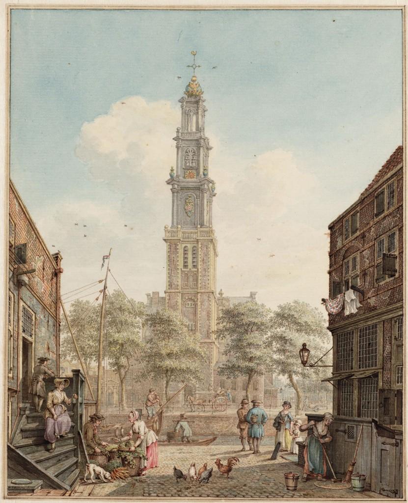 H.P. Schouten, Bloemstraat gezien naar de Prinsengracht met de Westerkerk, 1778, Stadsarchief Amsterdam, Collectie Atlas Splitgerber