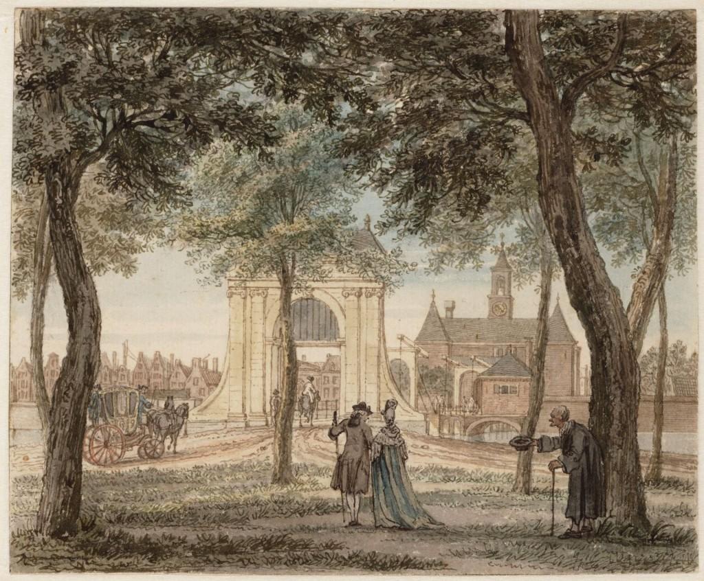 Reinier Vinkeles, Gezicht van het Leidsebosje naar de Leidsepoort, 1769, Stadsarchief Amsterdam, Collectie Van Eeghen