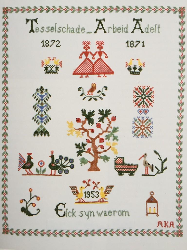 Een merklap ter viering van de fusie vanTesselschade en Arbeid Adelt in 1953.