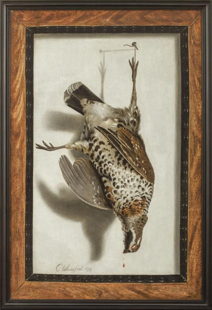 Cornelis Biltius, 1653 - in of na 1683, Trompe l' oeil van een hazelhoen, gesigneerd: C bilcius fecit '79, collectie kunsthandel Hoogsteder & Hoogsteder