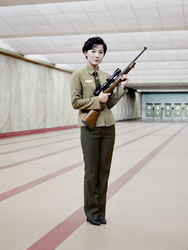 Gun instructor Maeri shooting range Pyongyang, 2015, Eddo Hartmann